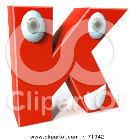 Royalty-Free (RF) Clipart Illustration of a 3d Red Character Letter K by Julos