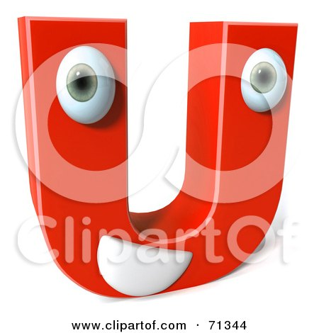 Royalty-Free (RF) Clipart Illustration of a 3d Red Character Letter U by Julos