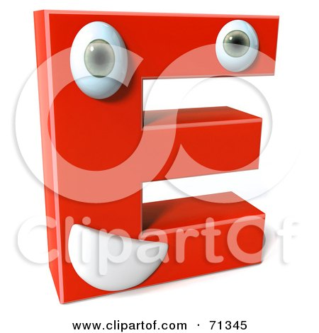 Royalty-Free (RF) Clipart Illustration of a 3d Red Character Letter E by Julos