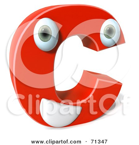 Royalty-Free (RF) Clipart Illustration of a 3d Red Character Letter C by Julos