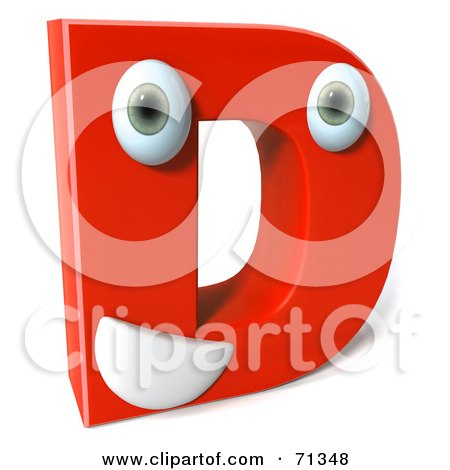 Royalty-Free (RF) Clipart Illustration of a 3d Red Character Letter D by Julos