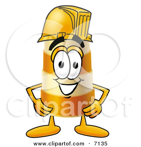 Clipart Picture of a Barrel Mascot Cartoon Character Wearing a Helmet by Toons4Biz