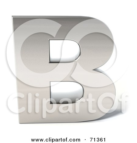 Royalty-Free (RF) Clipart Illustration of a 3d Chrome Capital Letter B by Julos