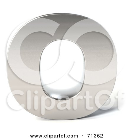 Royalty-Free (RF) Clipart Illustration of a 3d Chrome Capital Letter O by Julos