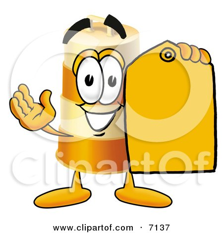 Clipart Picture of a Barrel Mascot Cartoon Character Holding a Yellow Sales Price Tag by Toons4Biz