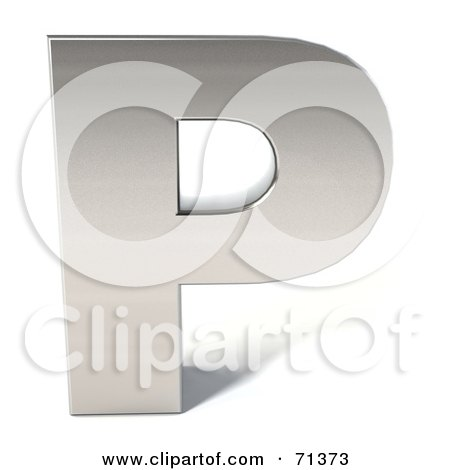 Royalty-Free (RF) Clipart Illustration of a 3d Chrome Capital Letter P by Julos