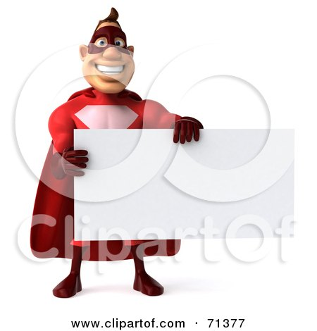 Royalty-Free (RF) Clipart Illustration of a 3d Red Super Hero Guy Holding a Blank White Sign - Pose 1 by Julos