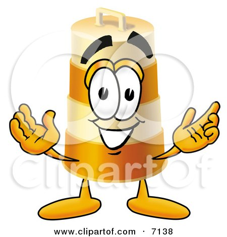 Clipart Picture of a Barrel Mascot Cartoon Character With Welcoming Open Arms by Toons4Biz
