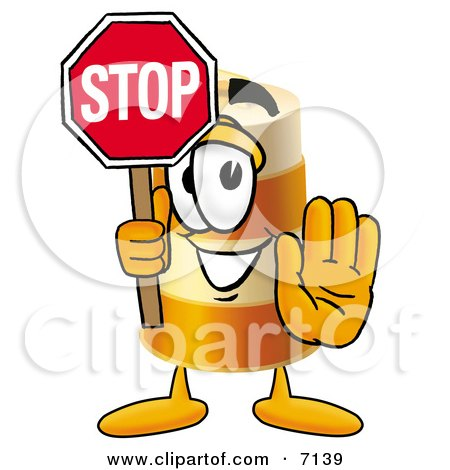 Clipart Picture of a Barrel Mascot Cartoon Character Holding a Stop Sign by Toons4Biz