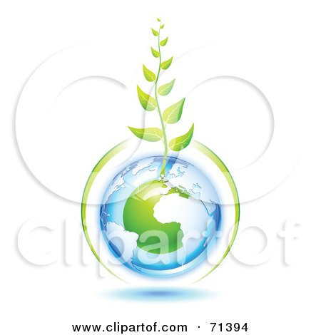 Royalty-Free (RF) Clipart Illustration of a Green Vine Growing From A Blue And Green Protected European Globe by Oligo