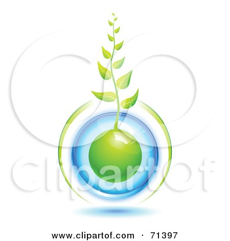 Royalty-Free (RF) Clipart Illustration of a Green Organic Vine Growing Form A Blue Protected Globe by Oligo
