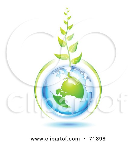 Royalty-Free (RF) Clipart Illustration of a Green Vine Growing From A Blue And Green Protected American Globe by Oligo