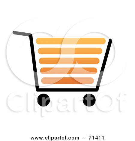 Royalty-Free (RF) Clipart Illustration of a Black And Orange Shopping Cart On White by oboy