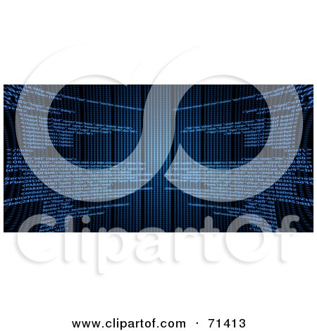 Royalty-Free (RF) Clipart Illustration of a Black Background With Blue Html Code - Version 3 by oboy