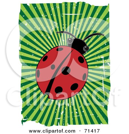 Royalty-Free (RF) Clipart Illustration of a Red Ladybug Beetle With Green Bursting Grunge And White Edges by mheld