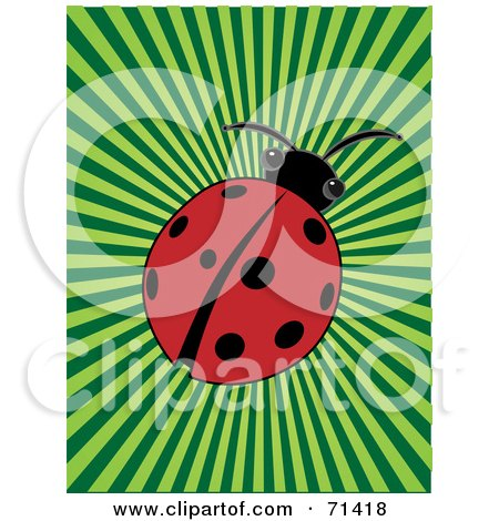 Royalty-Free (RF) Clipart Illustration of a Red Ladybug Beetle On A Green Bursting Background by mheld