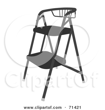 Royalty-Free (RF) Clipart Illustration of a Black Foldable Stool Chair by JR