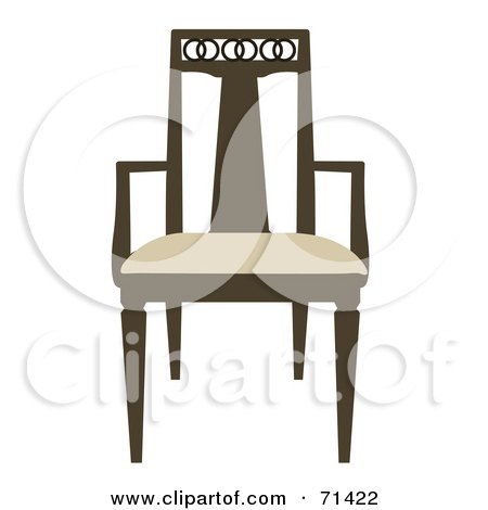Royalty-Free (RF) Clipart Illustration of a Brown And Beige Wooden Chair by JR