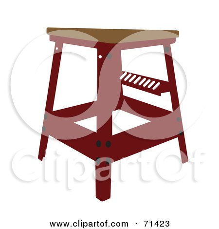 Royalty-Free (RF) Clipart Illustration of a Red Stool With a Wood Seat by JR
