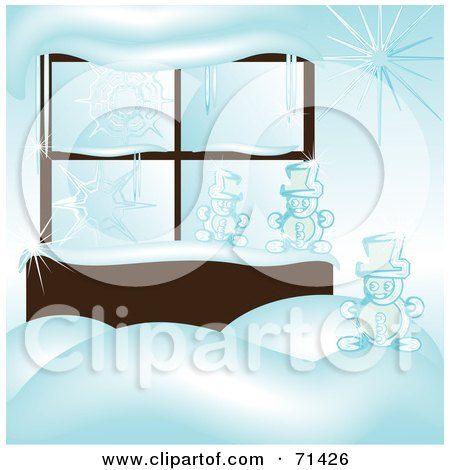 Royalty-Free (RF) Clipart Illustration of a Window With Icicles, Snow And Snowmen by kaycee