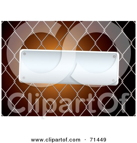 Royalty-Free (RF) Clipart Illustration of a Slanted Blank Metal Sign On A Chain Link Fence, Over Orange by michaeltravers