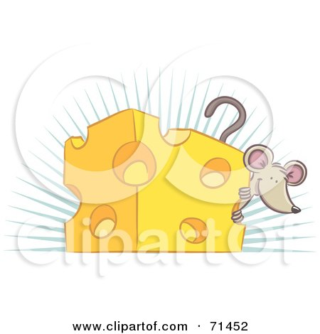 Happy Mouse Peeking Around A Block Of Cheese Posters, Art Prints