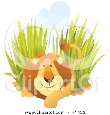 Royalty-Free (RF) Clipart Illustration of a Friendly Male Lion Resting In Tall Grass by Qiun