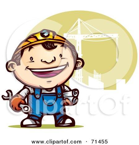 Royalty-Free (RF) Clipart Illustration of a Happy Construction Guy In Overalls, Standing By A Crane by Qiun