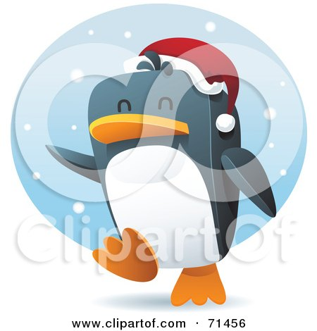 Royalty-Free (RF) Clipart Illustration of a Happy Penguin Running Through The Snow And Wearing A Santa Hat by Qiun
