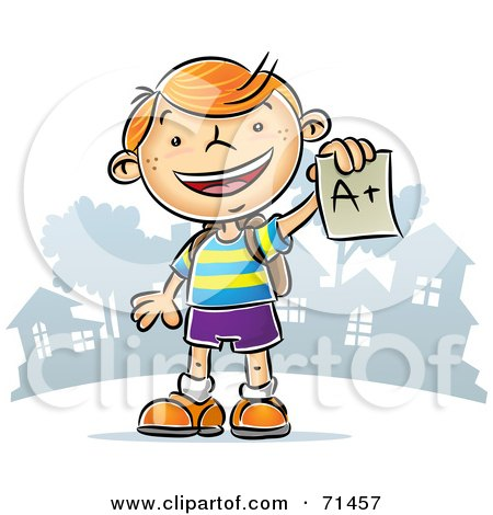 Royalty-Free (RF) Clipart Illustration of a Happy Red Haired School Boy Holding An A Plus Graded Paper by Qiun