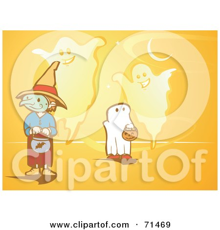 Royalty-Free (RF) Clipart Illustration of an Orange Halloween Background Of Trick Or Treaters And Ghosts by xunantunich