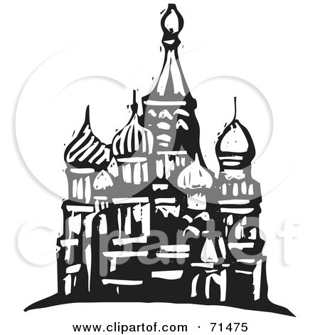 Royalty-Free (RF) Clipart Illustration of a Black And White Carving Design Of A Mosque by xunantunich