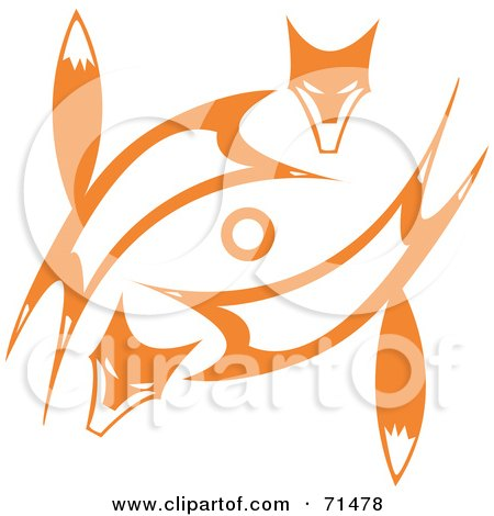 Royalty Free RF Clipart Illustration Of A Tribal Design Of Two Orange Foxes