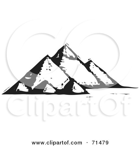 Royalty-Free (RF) Clipart Illustration of a Black And White Carved Design Of The Egyptian Pyramids by xunantunich