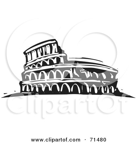 Royalty-Free (RF) Clipart Illustration of a Black And White Carving Design Of The Flavian Amphitheatre by xunantunich