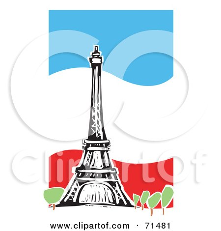 Royalty-Free (RF) Clipart Illustration of The Eiffel Tower Over A Wavy Flag Background by xunantunich