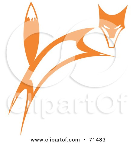 Royalty Free RF Clipart Illustration Of A Tribal Design Of A Leaping Fox