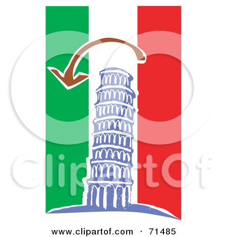 Royalty-Free (RF) Clipart Illustration of an Arrow Over The Leaning Tower Of Piza, On A Red, White And Green Background by xunantunich