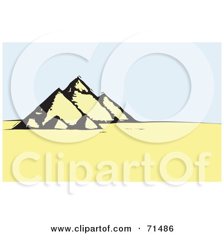 Royalty-Free (RF) Clipart Illustration of an Egyptian Landscape With The Pyramids by xunantunich