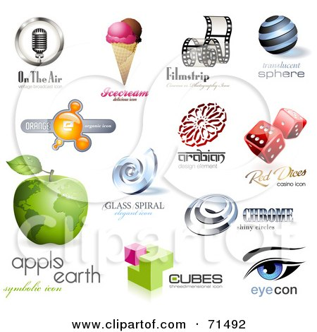 Royalty-Free (RF) Clipart Illustration of a Digital Collage Of 3d Logo Icons - Version 3 by Anja Kaiser