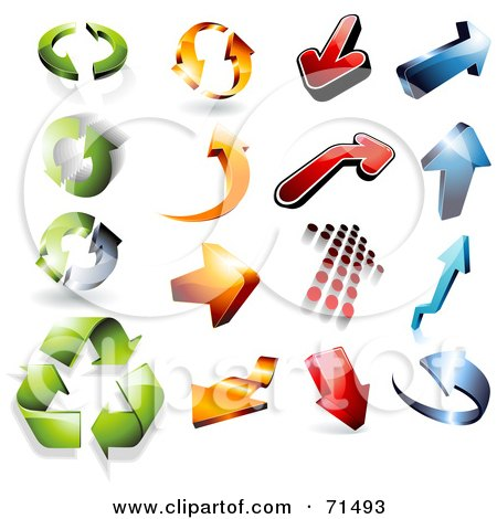 Royalty Free RF Clipart Illustration Of A Digital Collage Of 3d Green Orange Red And Blue Arrow Icons