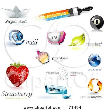 Royalty-Free (RF) Clipart Illustration of a Digital Collage Of 3d Logo Icons - Version 2 by Anja Kaiser