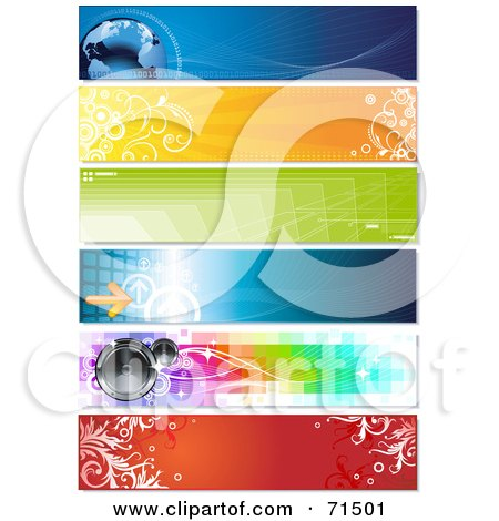 Royalty-Free (RF) Clipart Illustration of a Digital Collage Of Horizontal Binary Globe, Floral, Geometric, Arrow And Speaker Website Headers by Anja Kaiser