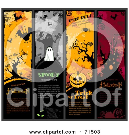 Royalty-Free (RF) Clipart Illustration of a Digital Collage Of Vertical Halloween Website Headers by Anja Kaiser