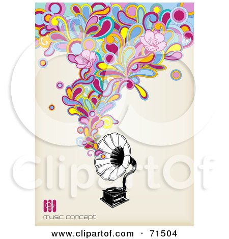 Royalty-Free (RF) Clipart Illustration of a Black And White Gramophone With Funky Colorful Music With Flowers by Anja Kaiser