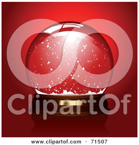 Royalty-Free (RF) Clipart Illustration of a Clear Snow Globe Over Red by Anja Kaiser