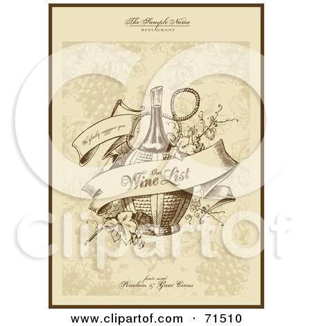 Royalty-Free (RF) Clipart Illustration of an Elegant Sepia Toned Wine List Menu Cover by Anja Kaiser