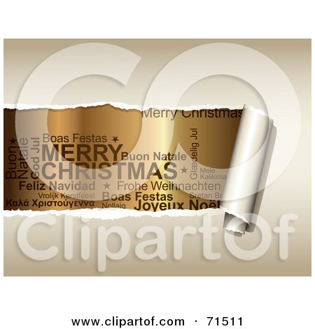Royalty-Free (RF) Clipart Illustration of Beige Paper Tearing To Reveal Christmas Text In Different Languages by Anja Kaiser