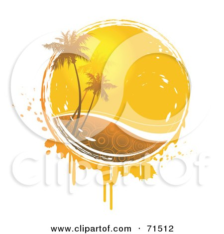 Royalty-Free (RF) Clipart Illustration of Palm Trees In Front Of The Summer Sun With Circle Patterned Water And Grunge Over White by Anja Kaiser