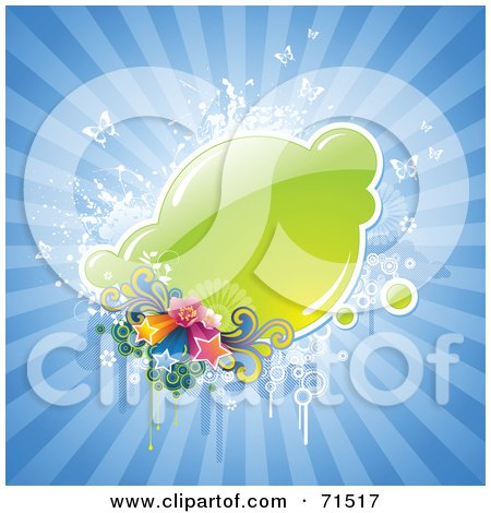 Royalty-Free (RF) Clipart Illustration of a Green Text Box With Stars, Butterflies And Grunge On A Blue Burst by Anja Kaiser